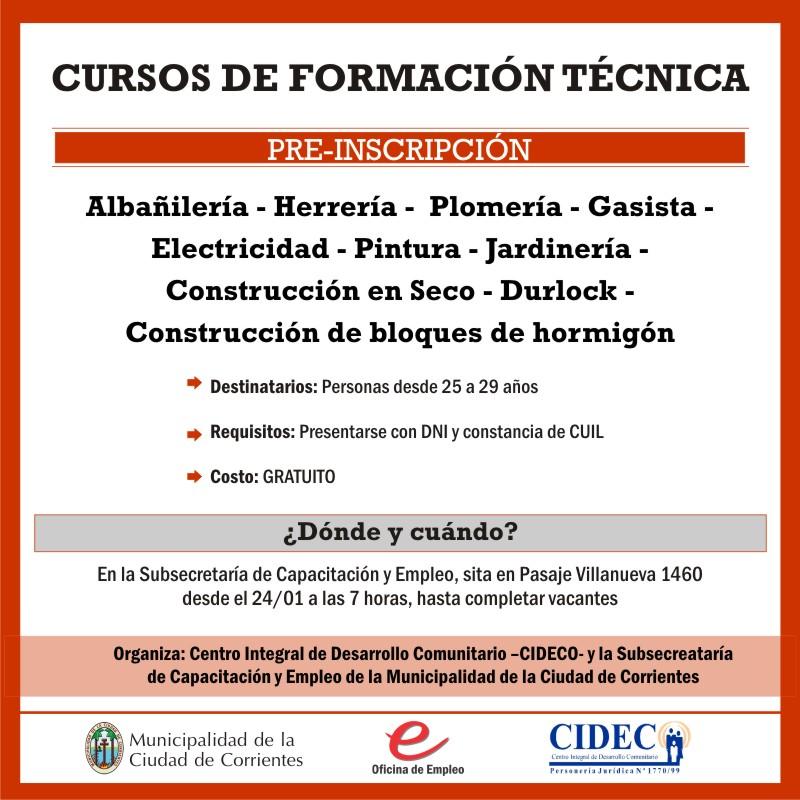 La Municipalidad abre la preinscripción a nuevos cursos de formación técnica