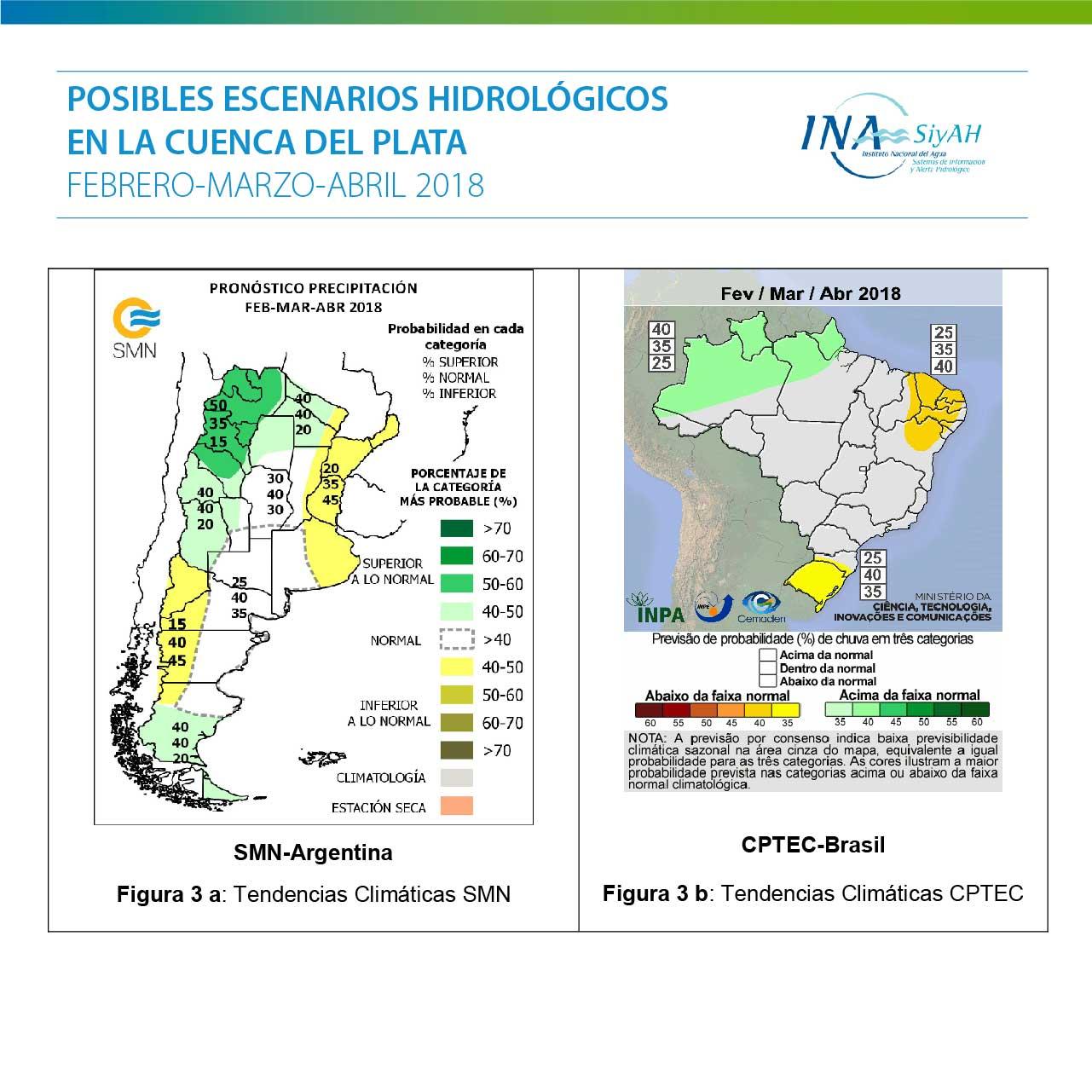 Escenarios hidrológicos para los próximos tres meses