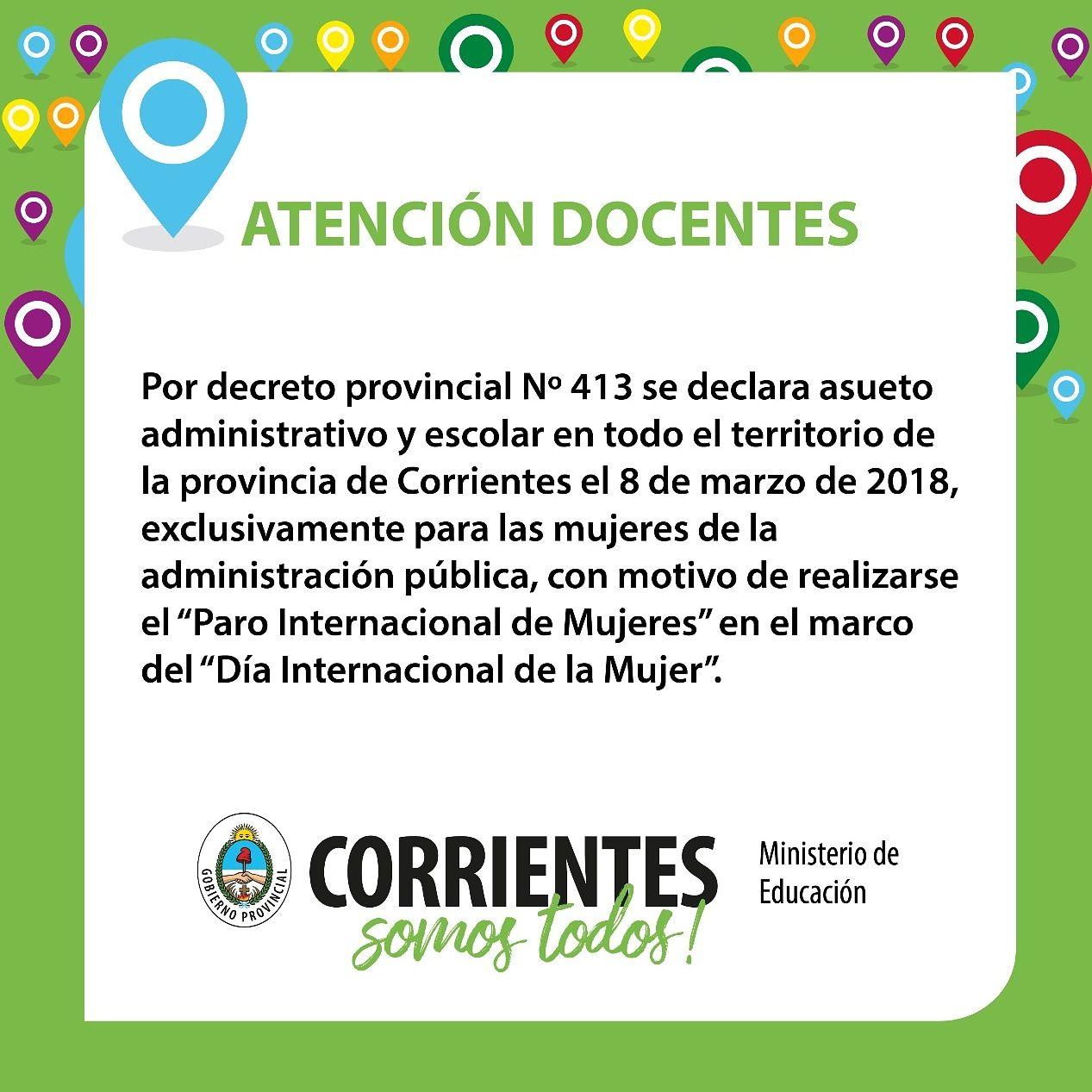 Gustavo Valdés firmó un decreto de asueto administrativo y escolar para las mujeres