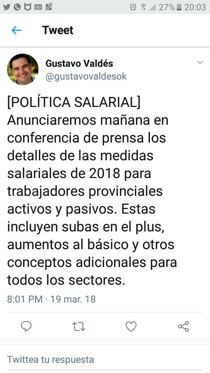 Valdés adelantó sobre los aumentos salariales y de la ayuda escolar