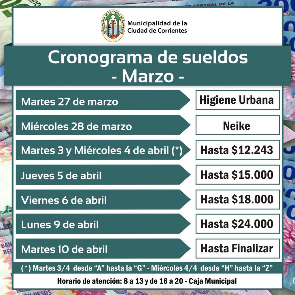 Cronograma de Sueldos de Marzo de la Municipalidad