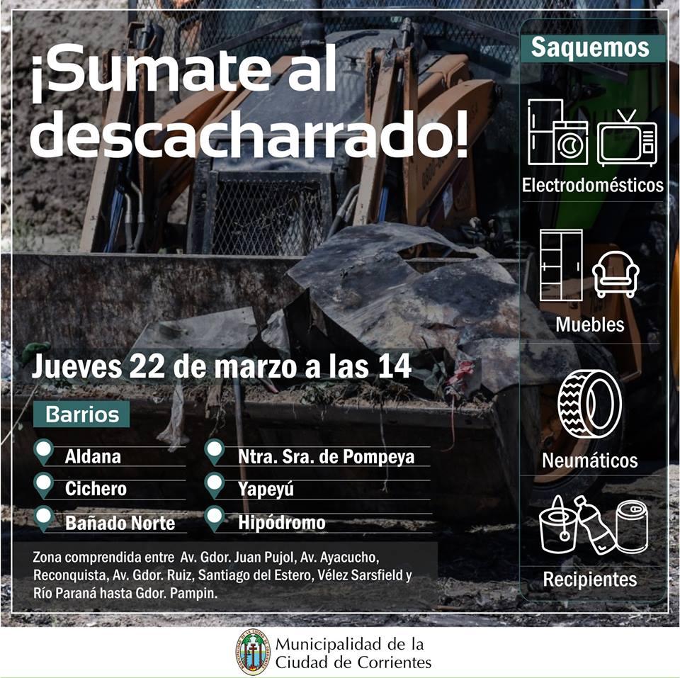 La Municipalidad realizará mañana un operativo de descacharrado en varios sectores de la ciudad