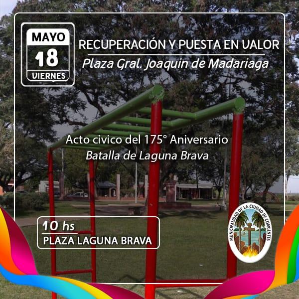Habilitarán obras de recuperación y puesta en valor de la plaza del barrio Laguna Brava