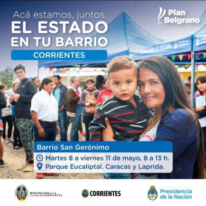 El Estado en tu Barrio llegará con múltiples prestaciones al San Gerónimo