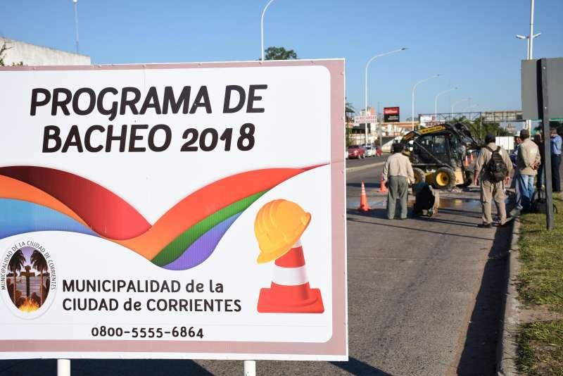 La Municipalidad avanza con bacheos en el corredor Manuel Belgrano