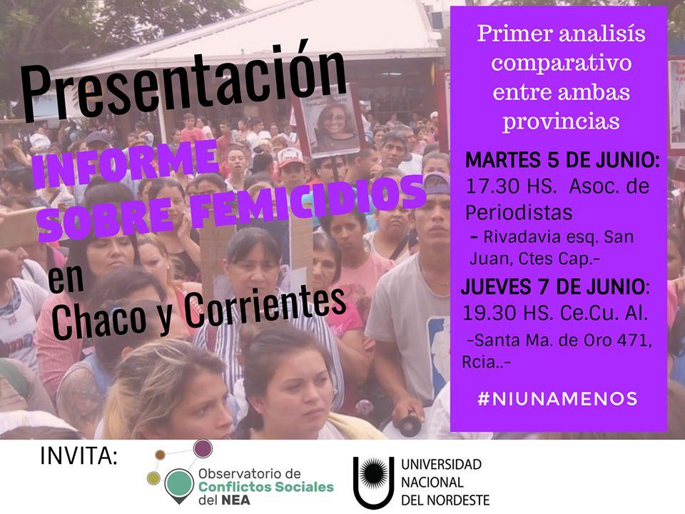 Presentación del informe sobre femicidios en Corrientes y Chaco