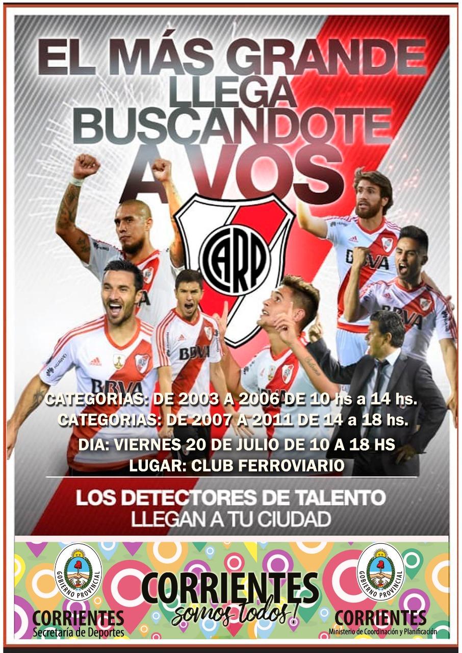 El Club Atlético River Plate detectará talentos en la ciudad de Corrientes