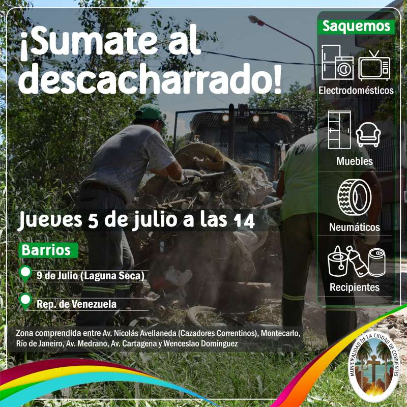Nuevo operativo de descacharrado en los barrios Laguna Seca y República de Venezuela