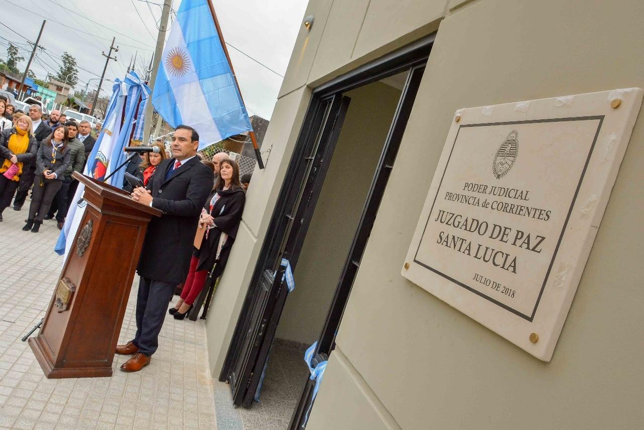 El Gobernador Gustavo Valdés acompañó la  inauguración del Juzgado de Paz de Santa Lucía