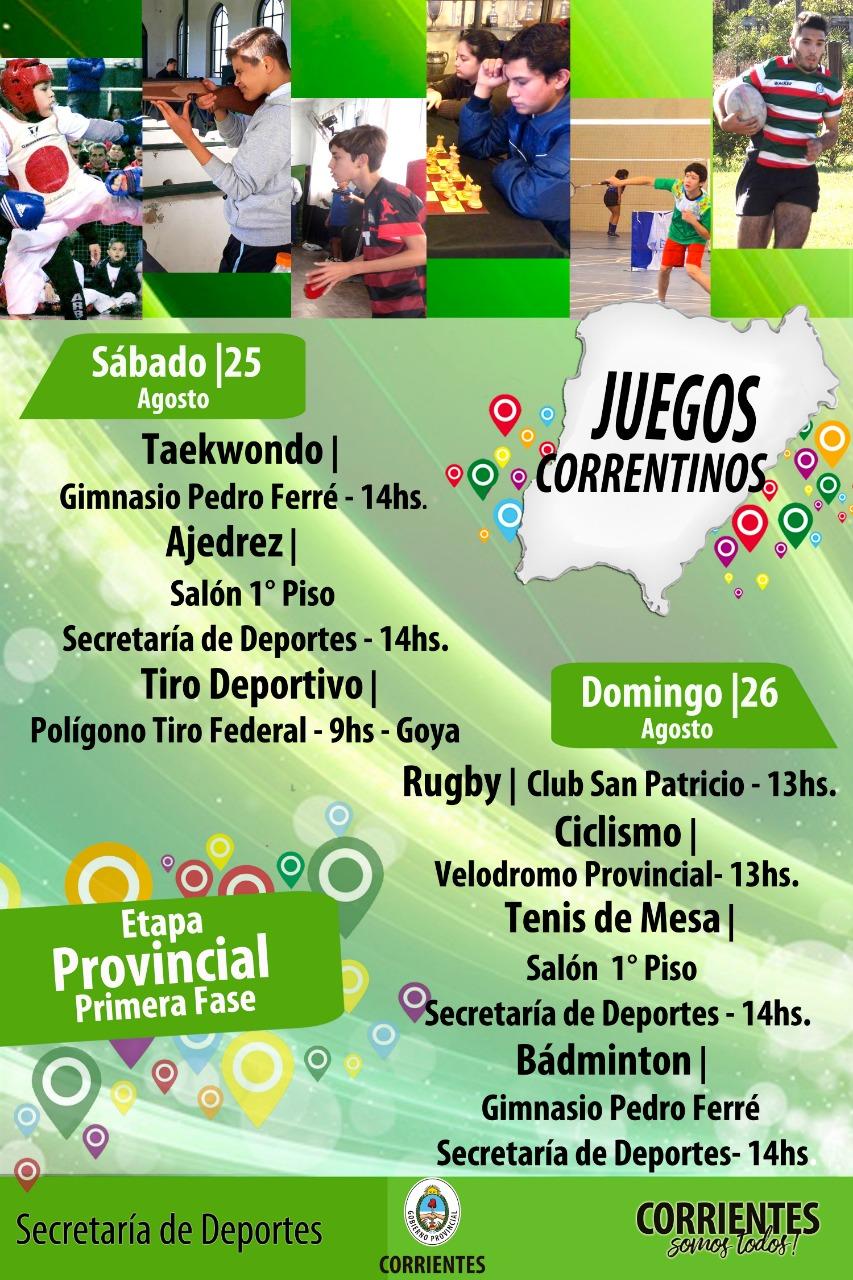 """""""Juegos Correntinos 2018"""", inicia la primera fase de Provinciales"""