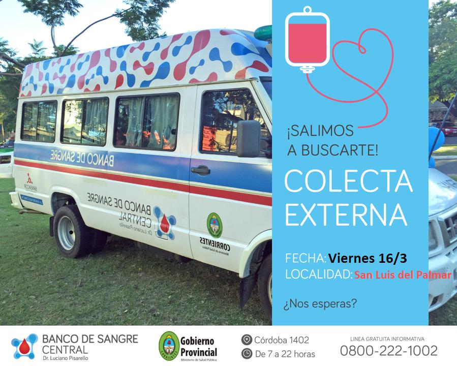 El Banco de Sangre realizará una campaña de colecta externa en San Luis del Palmar