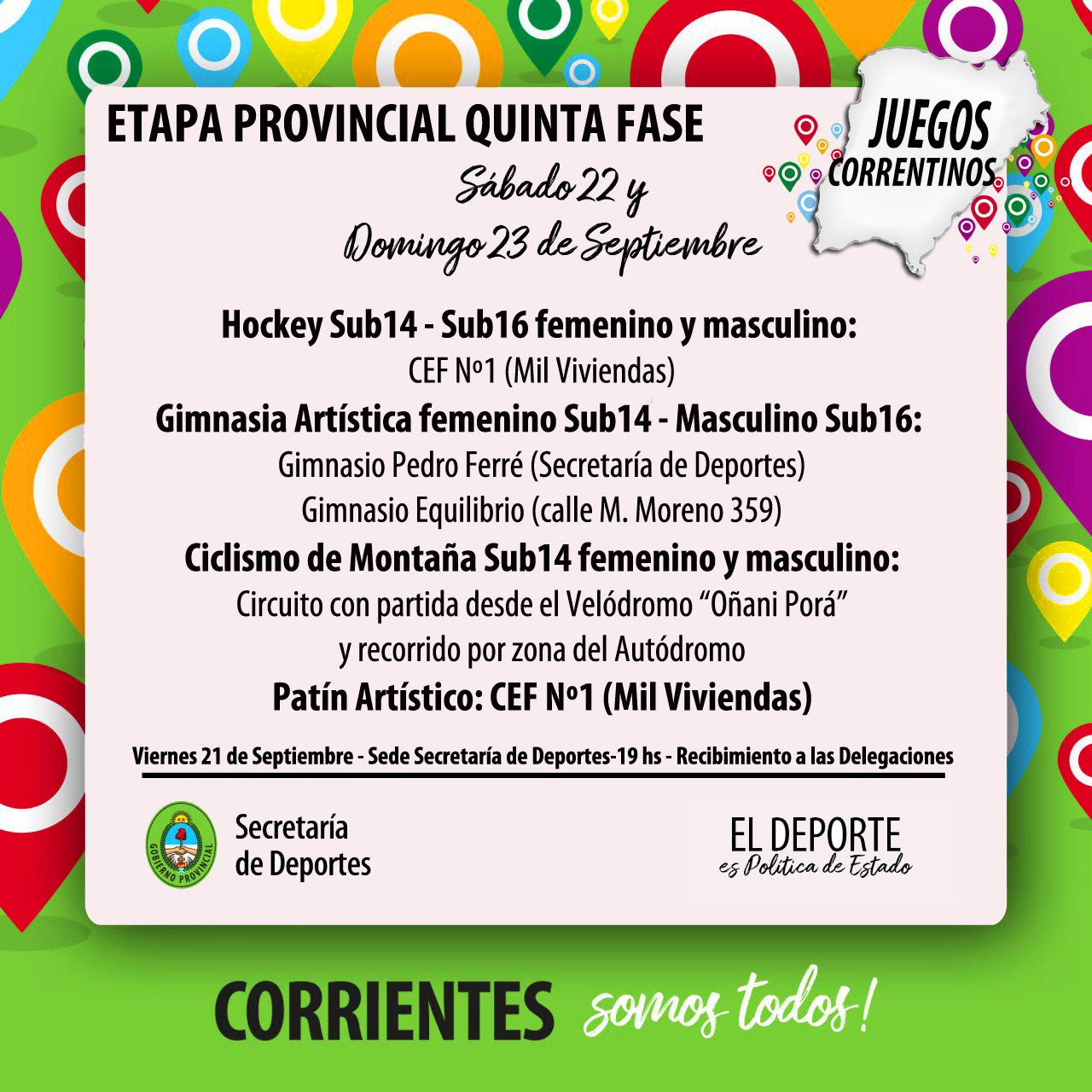 """""""Juegos Correntinos 2018"""", llega el turno de la Quinta Fase Provincial"""