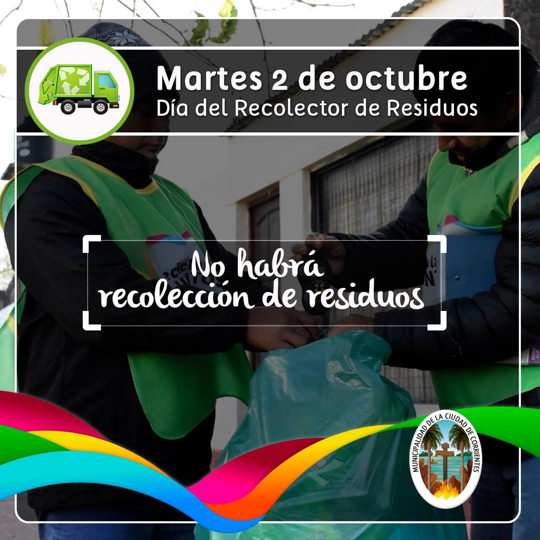 Por el Día del Recolector de Residuos Municipal, este martes no habrá retiro domiciliario