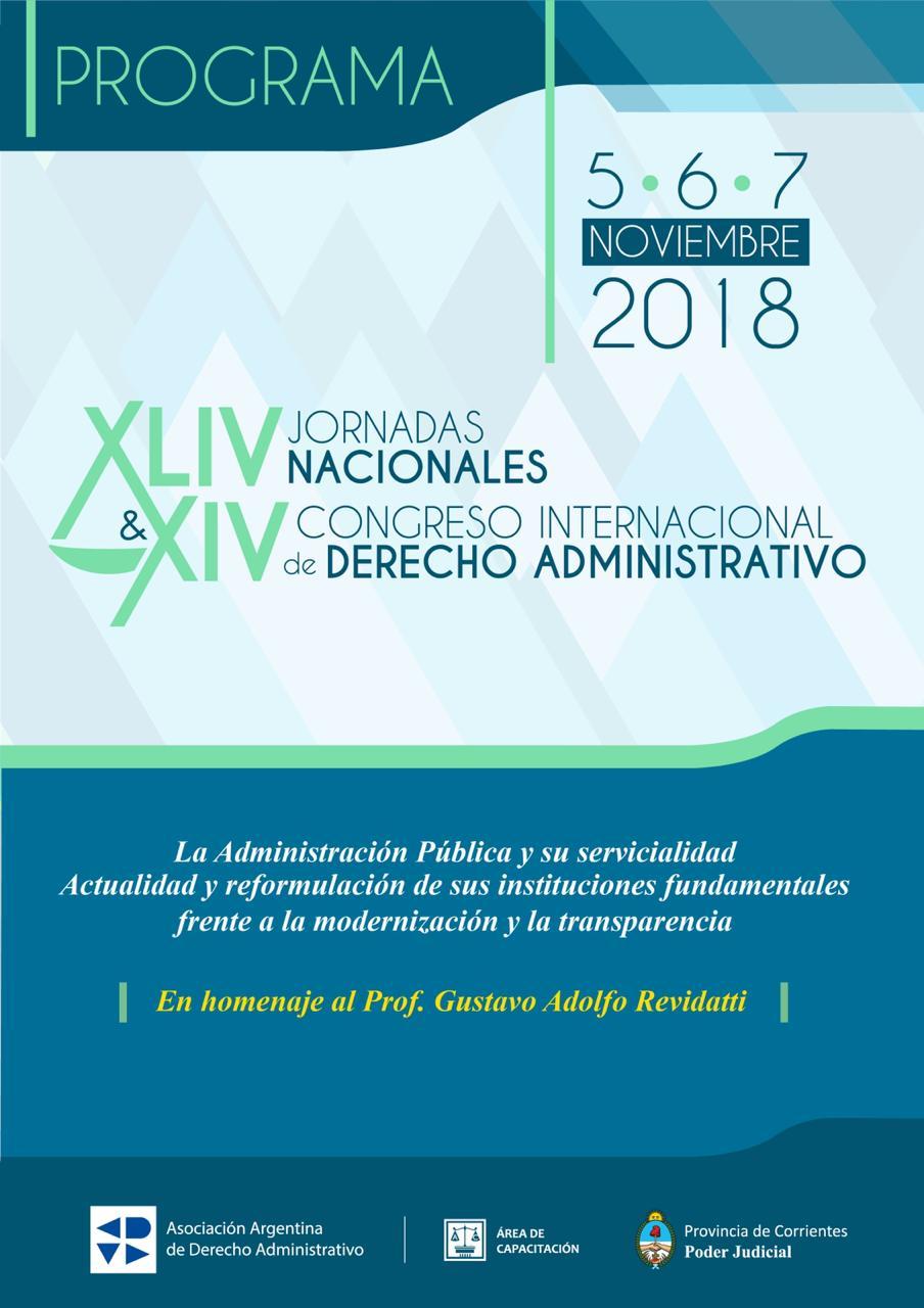 Se realizarán las XLIV Jornadas Nacionales y el XIV Congreso Internacional de Derecho Administrativo
