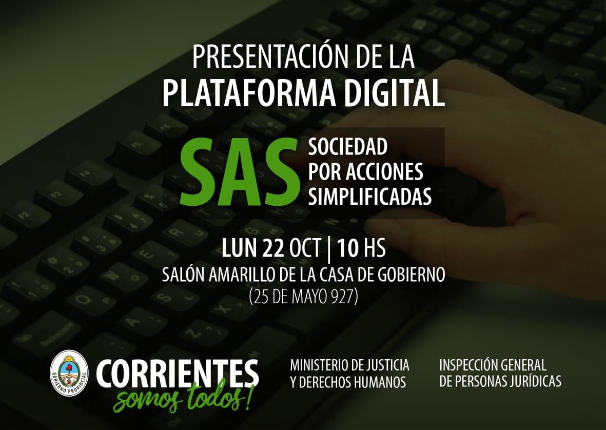 Presentarán la plataforma digital de Sociedades por Acciones Simplificadas de Corrientes