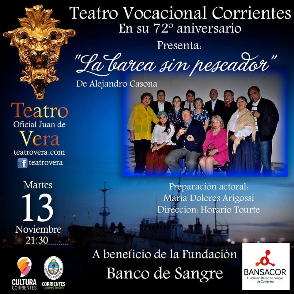 El Teatro Vocacional Corrientes estrenará una obra a beneficio del Banco de Sangre