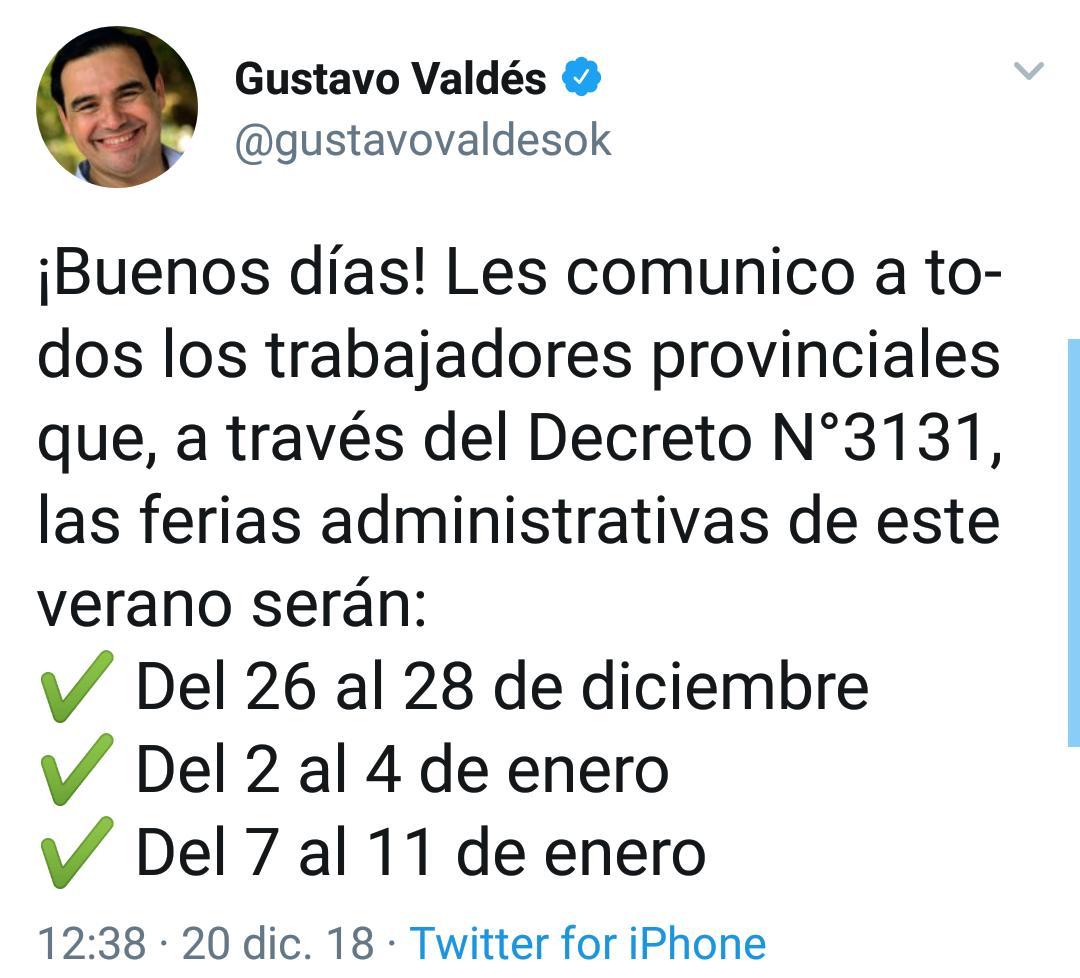 El gobernador Gustavo Valdés anunció las fechas de las ferias administrativas provincial