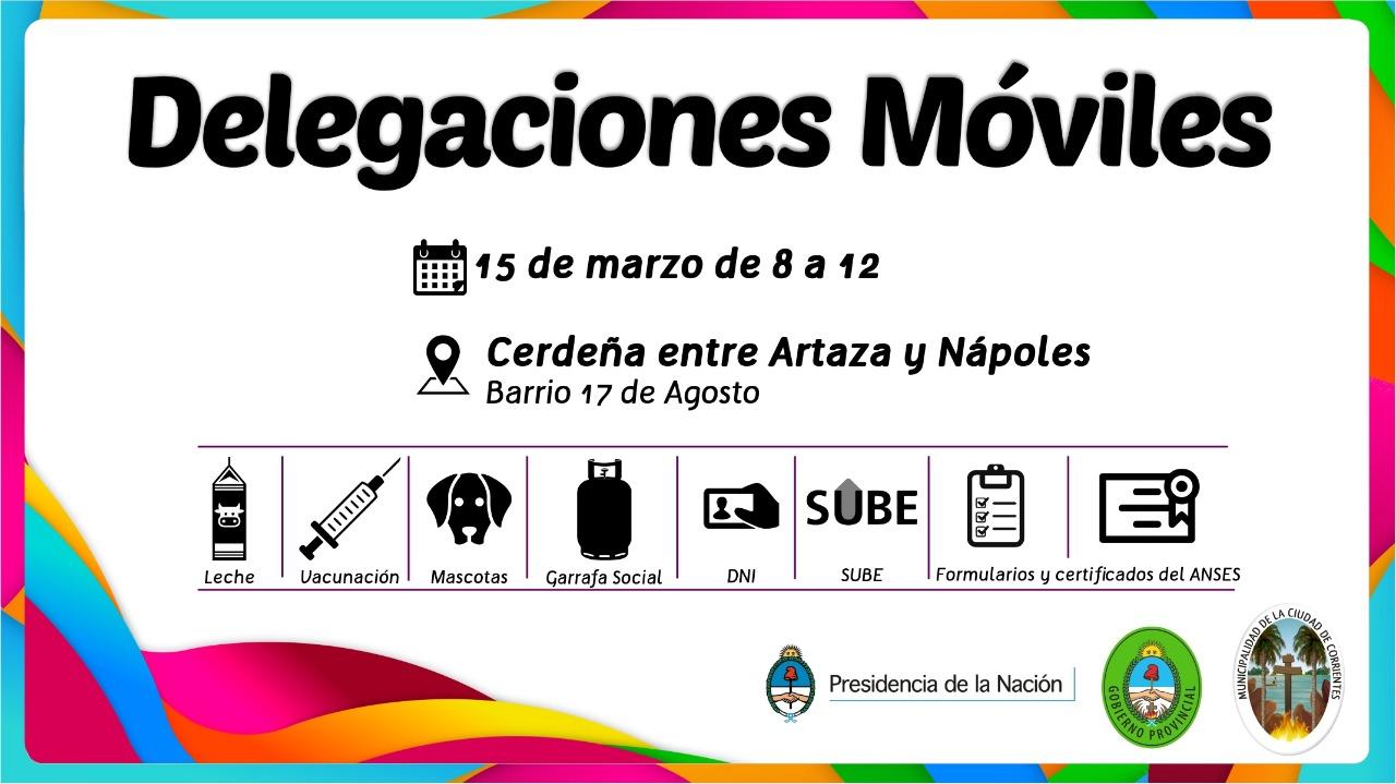 El operativo de Delegaciones Móviles llega al 17 de agosto