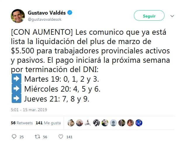 Valdés anunció que desde el martes se abona el plus de marzo de $5.500
