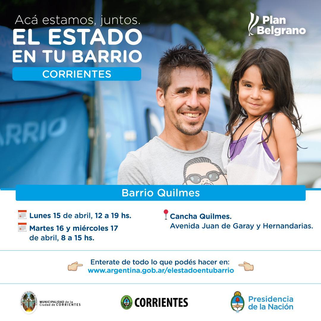 La semana próxima, El estado en tu Barrio brindará prestaciones en el barrio Quilmes