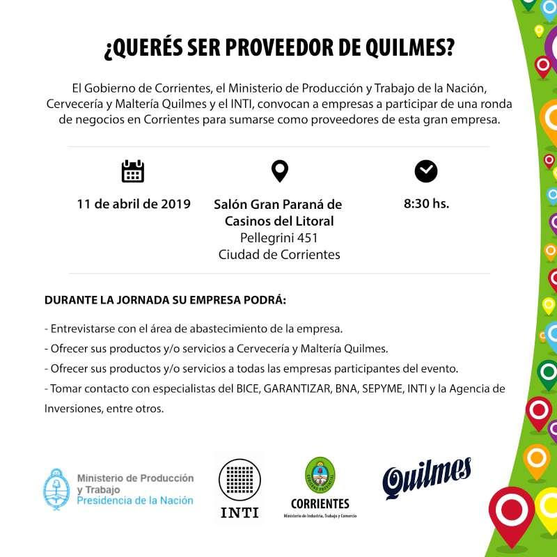 Convocan a empresarios y emprendedores a sumarse como proveedores de Quilmes