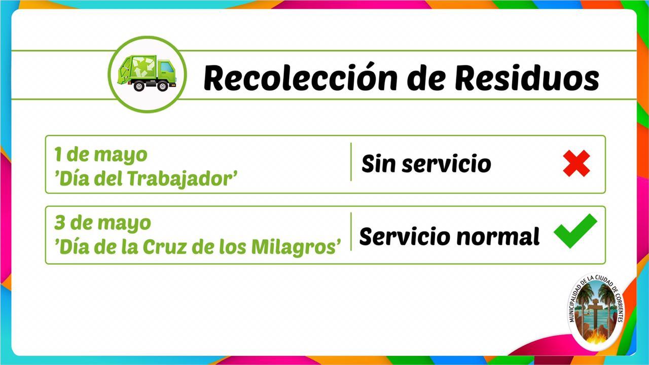 No habrá servicio recolección de residuos el miércoles y el viernes será normal