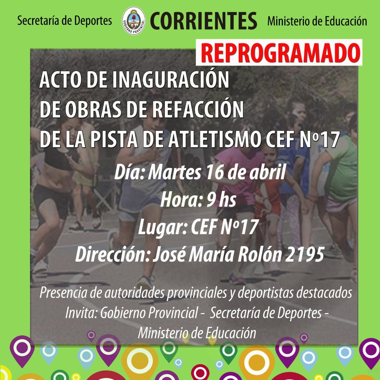 Este martes se inauguran las obras de la pista de atletismo del CEFº 17