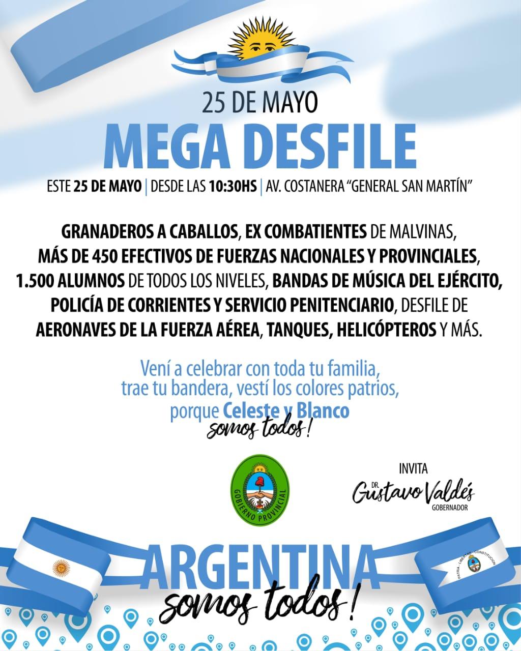 El Gobierno Provincial prepara un mega desfile patrio para el 25 de Mayo
