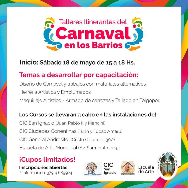 Arrancan los talleres gratuitos de carnaval por los barrios