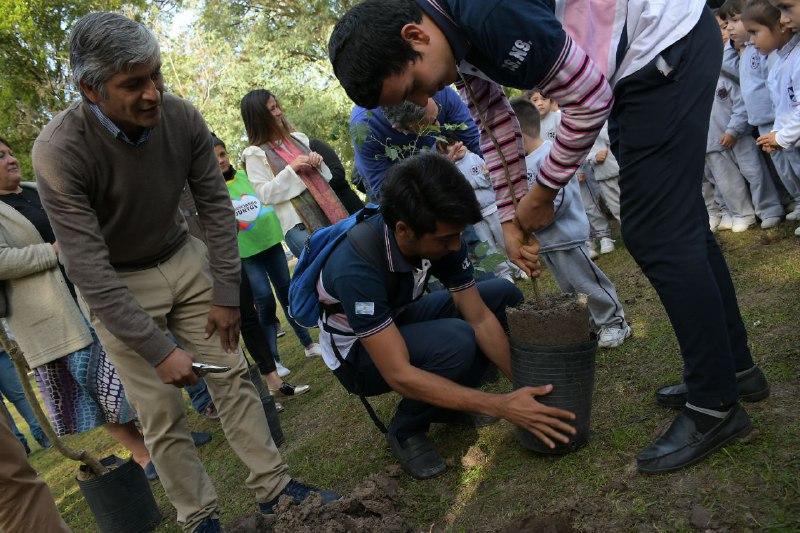 Plantaron árboles en el Parque Mitre y se regalaron ejemplares autóctonos a los vecinos