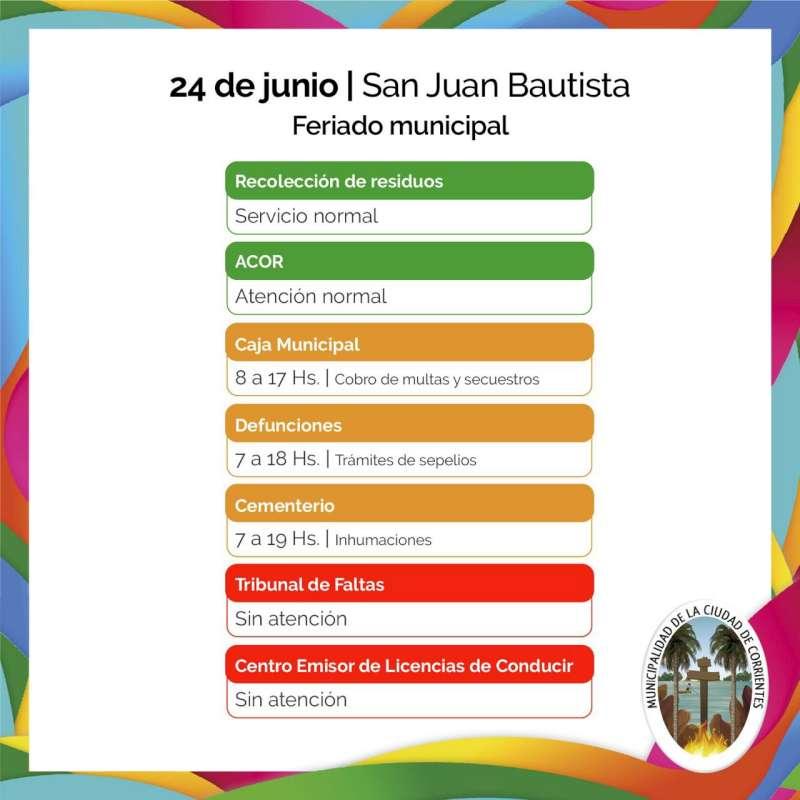 Servicios municipales para este lunes 24 de junio