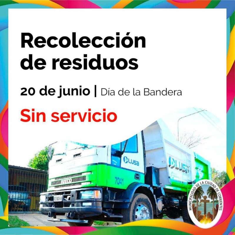 Este jueves no habrá servicios de recolección de residuos en la Ciudad
