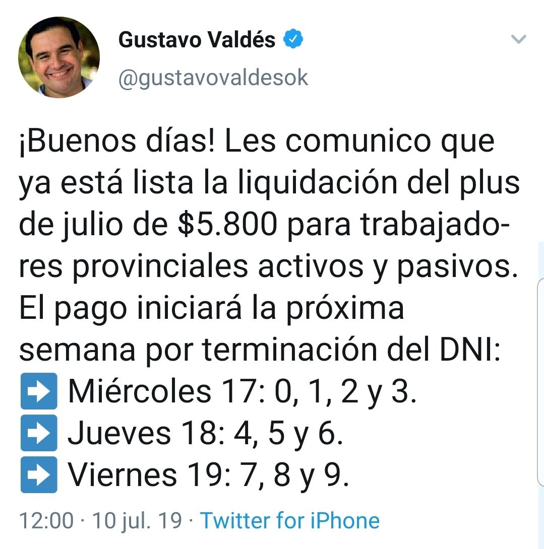Valdés confirmó el cronograma del pago del plus de $5.800