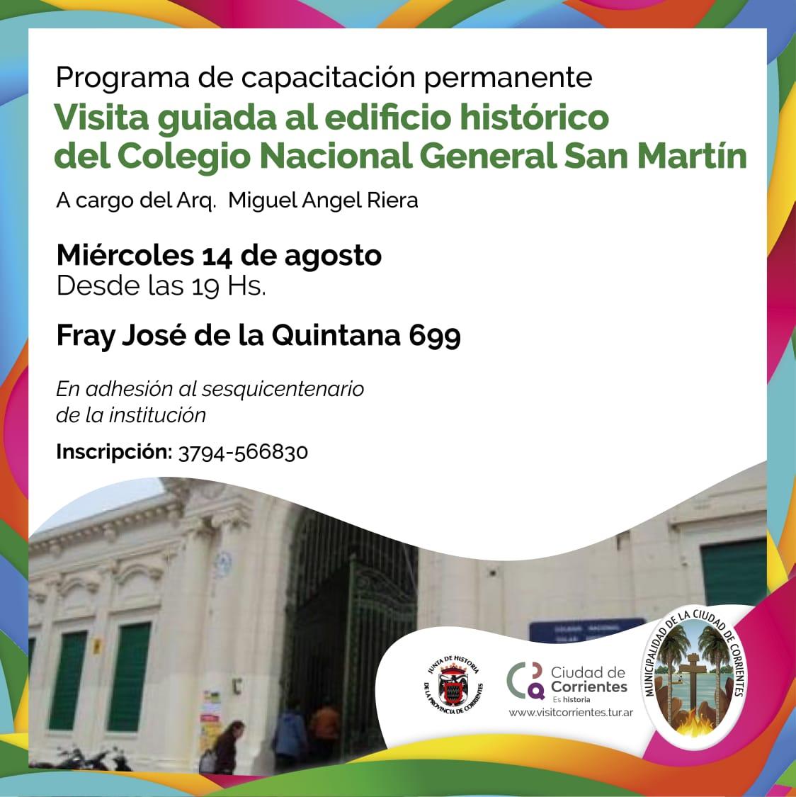 Visita guiada al histórico edificio del Colegio Nacional General San Martín