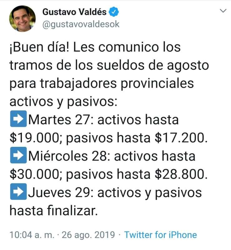 Valdés confirmó los tramos de los sueldos de agosto para la Administración pública