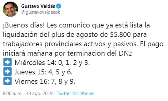 El gobernador Valdés confirmó fechas de pagos de plus $5.800 y sueldo de agosto