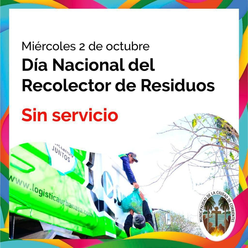 El miércoles 2 de octubre no habrá servicio de recolección de residuos en la Ciudad