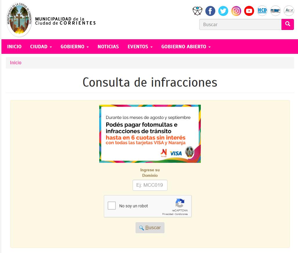 Infracciones de tránsito, la página de la Municipalidad recibió más de 100 mil consultas