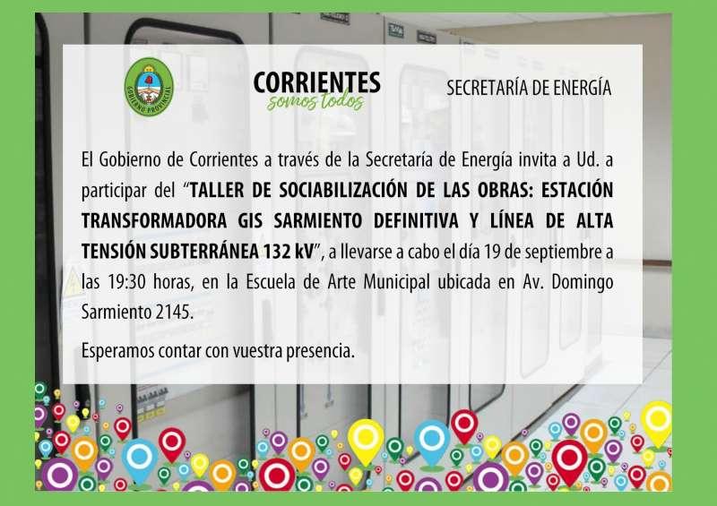 Convocatoria a Taller de Sociabilización de las obras Estación Transformadora Sarmiento y Línea de Alta Tensión subterránea