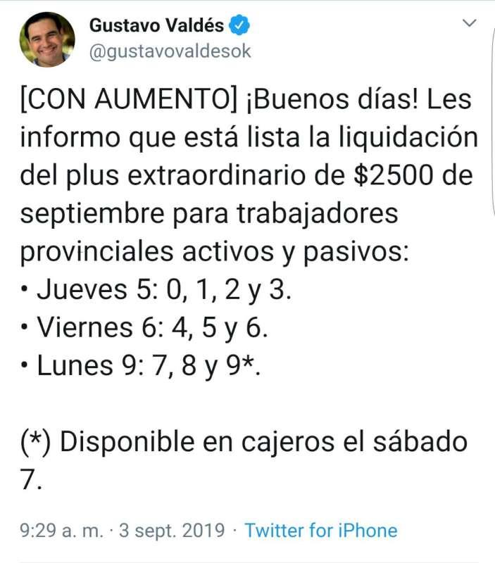Valdés informó el pago del plus extraordinario de septiembre con aumento