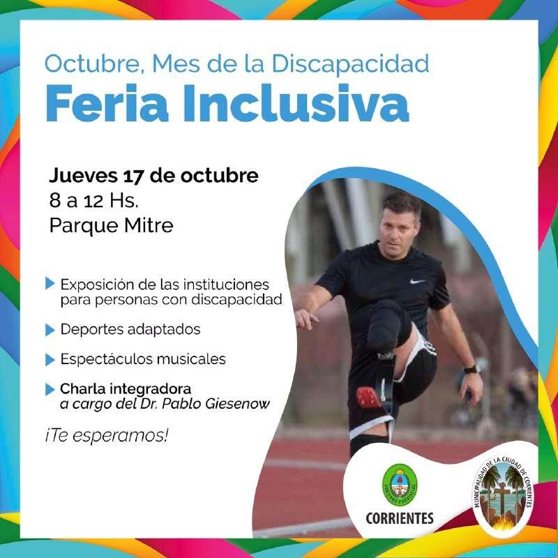 En el mes de la discapacidad habrá una Feria Inclusiva en el Parque Mitre
