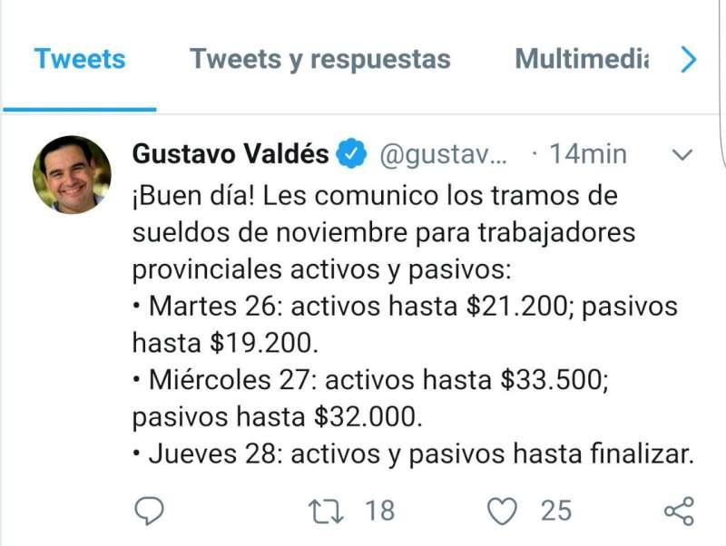 Valdés confirmó los tramos de los sueldos de noviembre y se acumula una inversión salarial superior a los $3.200 millones