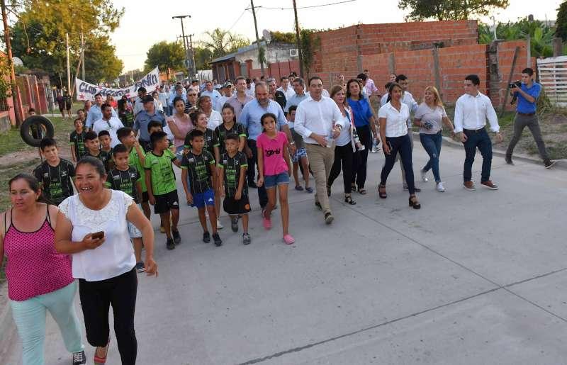 Valdés inauguró obras de pavimentación y desagües pluviales en la calle Las Margaritas