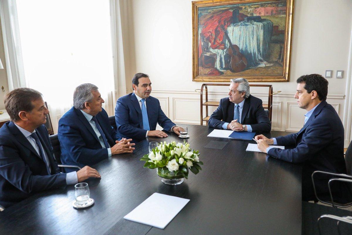Primer encuentro del gobernador Gustavo Valdés con el presidente de la Nación  Alberto Fernández