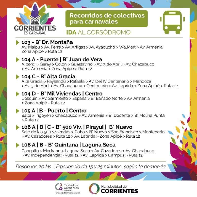 La Municipalidad dispuso colectivos gratuitos para los carnavales oficiales