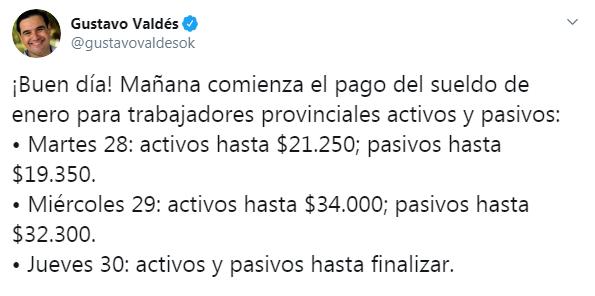 Valdés anunció el cronograma de pago del mes de enero
