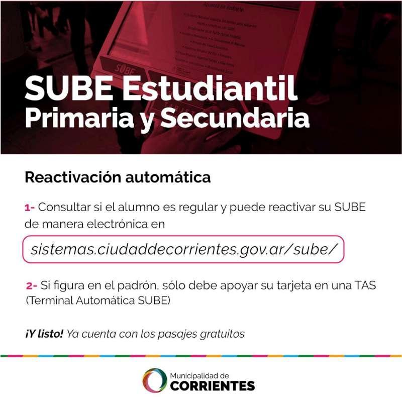 Reactivación automática de las tarjetas SUBE Estudiantil para nivel primario y secundario