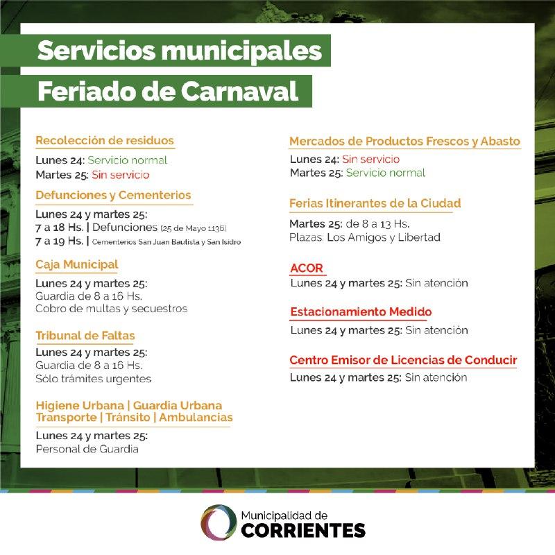 Así funcionarán los servicios municipales durante los feriados de carnaval