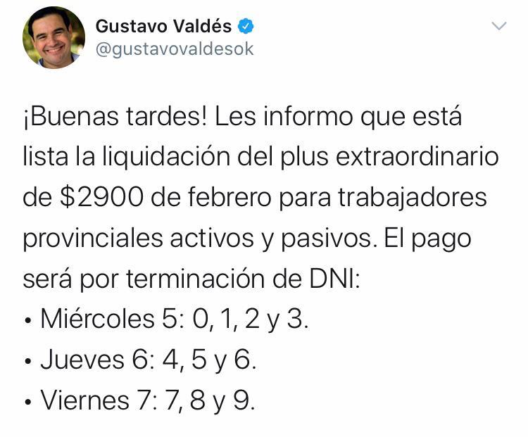 El Gobernador Valdés confirmó el cronograma del plus de $2.900