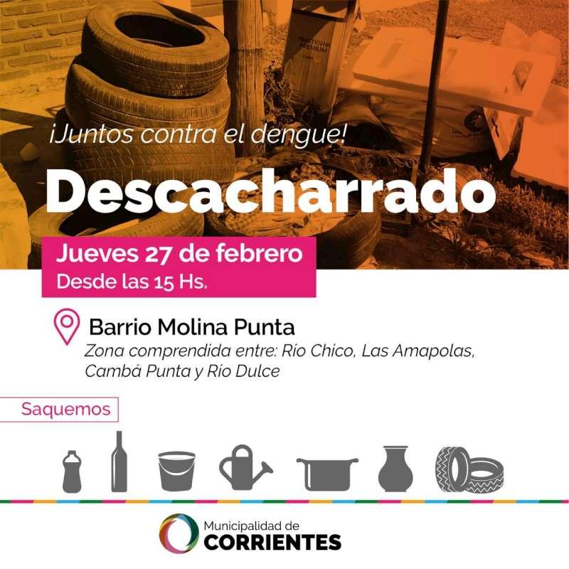 La Municipalidad realizará tareas de descacharrado en el barrio Molina Punta